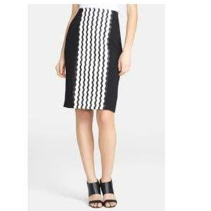 Opening Ceremony Graphic Wave Crepe Pencil Skirt 2